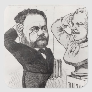 Caricature of Emile Zola Square Sticker