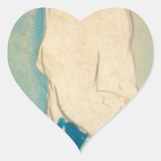Caricature of Everett Shinn by George Luks Heart Sticker