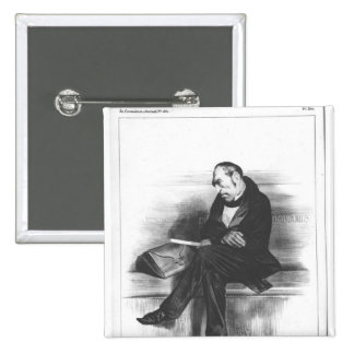 Caricature of Francois Guizot , 'La 2 Inch Square Button