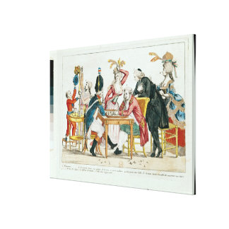 Caricature of Louis XVI  playing chess Canvas Print
