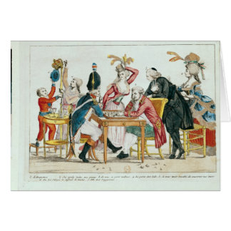 Caricature of Louis XVI  playing chess Card