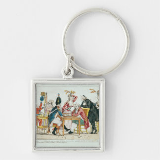 Caricature of Louis XVI  playing chess Key Chain