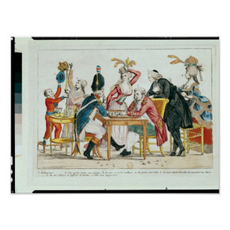 Caricature of Louis XVI  playing chess Posters