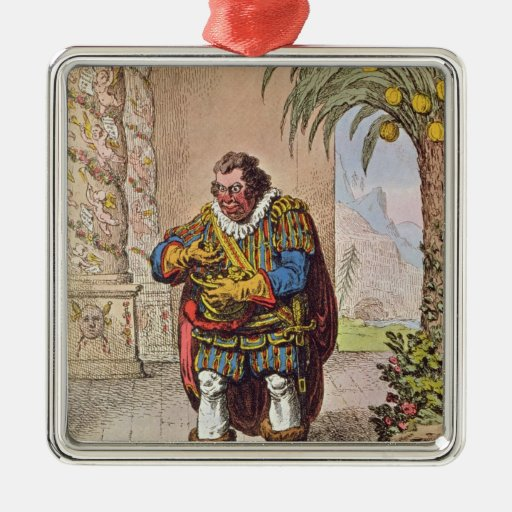 Caricature of Pizarro contemplating the Christmas Ornaments