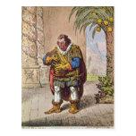 Caricature of Pizarro contemplating the Postcard