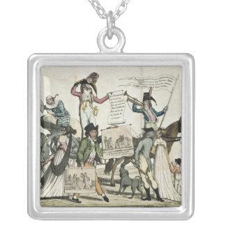 Caricature of quack doctors offering vaccines square pendant necklace