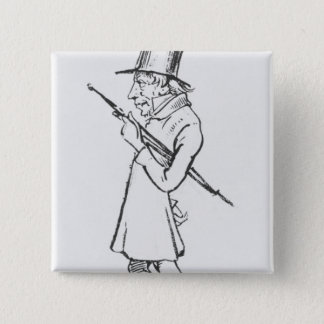 Caricature of Soren Aabye Kierkegaard Button
