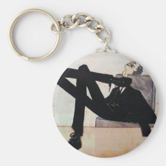 Caricature of the artist Emmerico Nunes by Amadeo Basic Round Button Keychain