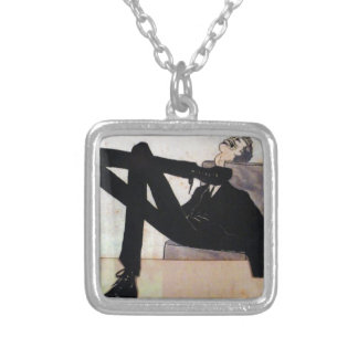Caricature of the artist Emmerico Nunes by Amadeo Square Pendant Necklace