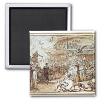 Caricature of the clergy 2 inch square magnet