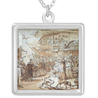 Caricature of the clergy silver plated necklace