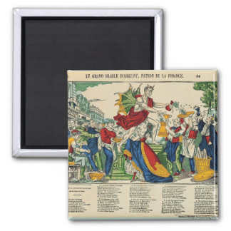 Caricature of the Demon of Money, 1860 2 Inch Square Magnet