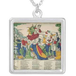 Caricature of the Demon of Money, 1860 Silver Plated Necklace