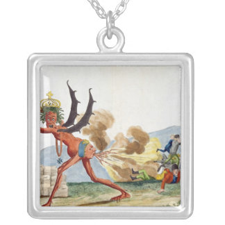 Caricature of the English Government, 1793 Silver Plated Necklace