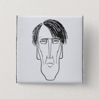 Caricature of W.B. Yeats, 1898 Button