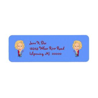 Caricature Prime Minister Margaret Thatcher  LABEL Return Address Label