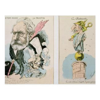 Caricatures of Victor Hugo  and Napoleon III Postcard