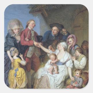 Caridad, 1777 pegatina cuadrada