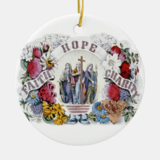 Caridad cristiana 1874 de la esperanza de la fe adorno navideño redondo de cerámica