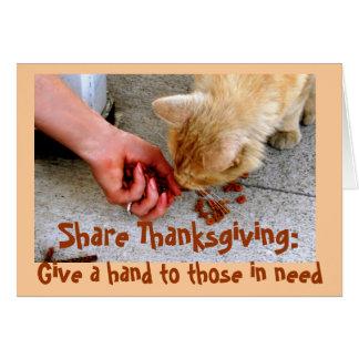 Caridad de la acción de gracias con los animales tarjeta de felicitación