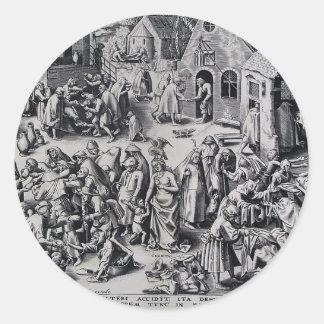 Caridad de Pieter Bruegel la anciano Etiquetas Redondas