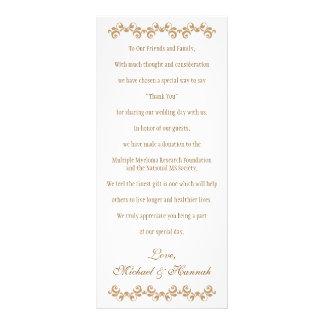 Caridad marroquí del boda del oro anaranjado con diseño de tarjeta publicitaria