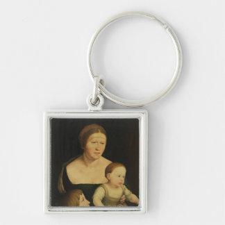 Caridad o la familia del artista, c.1528 llavero cuadrado plateado