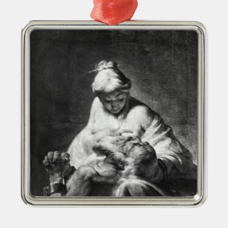 Caridad romana adorno navideño cuadrado de metal