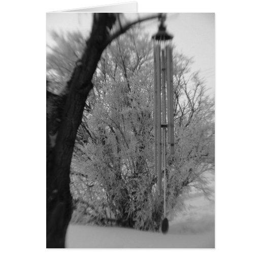 Carillones de viento blancos y negros tarjeta de felicitación