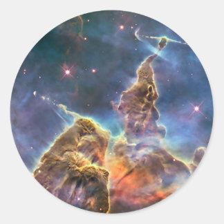 Carina Nebula by the Hubble Space Telescope Classic Round Sticker