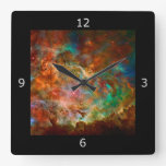 Carina Nebula in Argo Navis constellation Square Wall Clocks