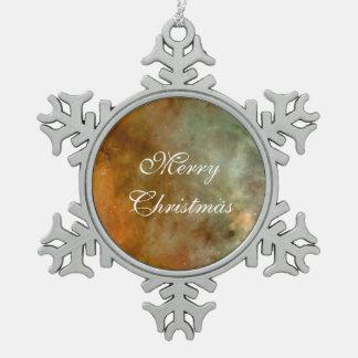 Carina Nebula marble sheen NASA Snowflake Pewter Christmas Ornament