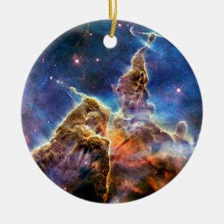 Carina Nebula Mystic Mountain Detail Double-Sided Ceramic Round Christmas Ornament