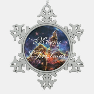 Carina's Mystic Mountain Snowflake Pewter Christmas Ornament