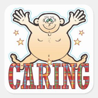 Caring Fat Man Square Sticker