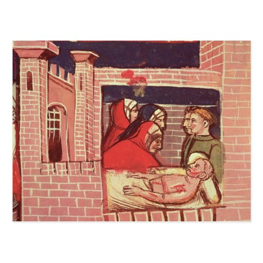 Caring for an injured man in a castle postcard