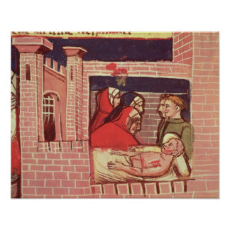Caring for an injured man in a castle poster