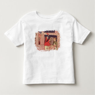 Caring for an injured man in a castle shirt
