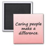 Caring People Make a Difference 2 Inch Square Magnet