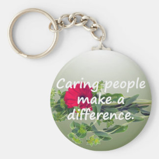 Caring People Make a Difference Basic Round Button Keychain