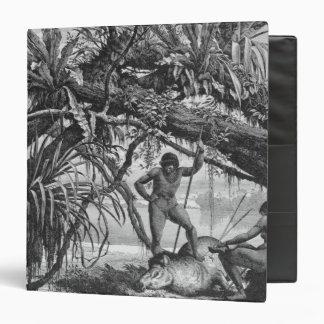 Caripuna Indians with tapir 3 Ring Binders