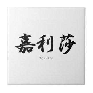 Carissa translated into Japanese kanji symbols. Ceramic Tile