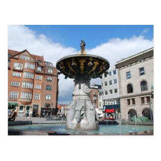 Caritas Well Fountain Copenhagen Denmark Postcard