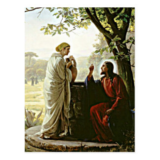 Carl Bloch: Woman at the Well painting Postcard