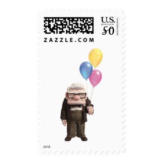 Carl from the Disney Pixar UP Movie Holding Postage