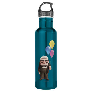 Carl from the Disney Pixar UP Movie Holding Stainless Steel Water Bottle