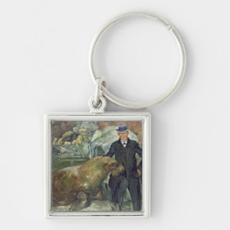 Carl Hagenbeck  in His Zoo, 1911 Silver-Colored Square Keychain