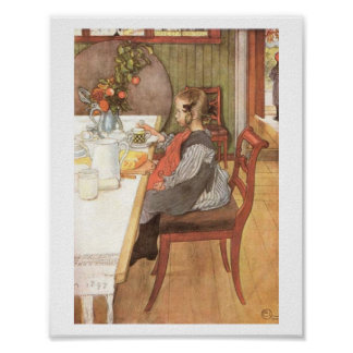 Carl Larsson A Late Riser's Miserable Breakfast Poster