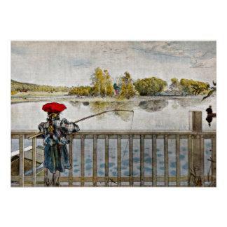Carl Larsson art: Lisbeth Fishing Poster