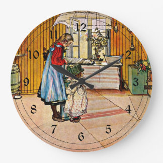 Carl Larsson art: The Kitchen Large Clock